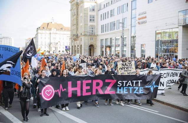 Demonstration gegen Pegida am Sonntag in Dresden.