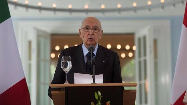Italiens Präsident Giorgio Napolitano bei seiner Ansprache in Bern