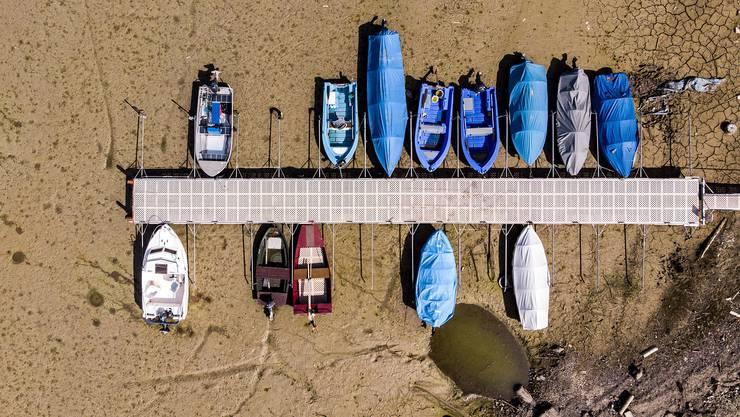 Der Lac des Brenets im Neuenburger Jura im September: Der Wasserpegel lag sieben Meter tiefer als üblich.