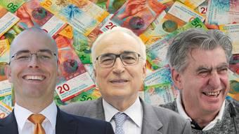 Gehören zu den reichsten Schweizern mit Aargauer Wurzeln: Markus Blocher, Willi Liebherr und Nick Hayek (von links).