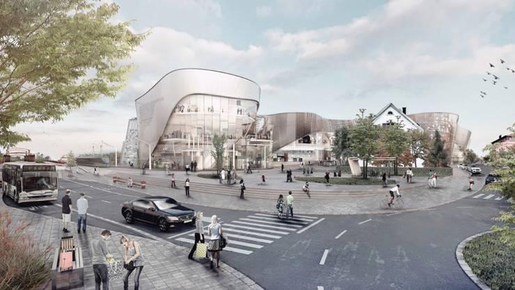 So könnte das neue Einkaufscenter Dreiländergalerie in der Nähe der Endhaltestelle des 8er-Trams in Weil am Rhein in einigen Jahren aussehen.