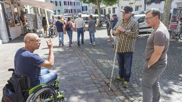 mit Jürgen Hofer (Direktor Solothurn Tourismus), Stefan Keller (Rollstuhlfahrer) und Thomas A. Biedermann (sehbehindert)
