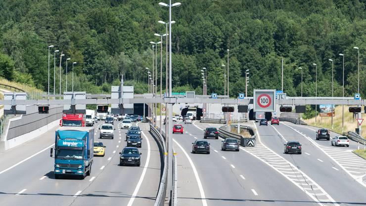 Viel befahren: Der 1,1 Kilometer lange Bareggtunnel liegt südliche von Baden zwischen dem Ortsteil Dättwil und Neuenhof und gehört zur Autobahn A1.