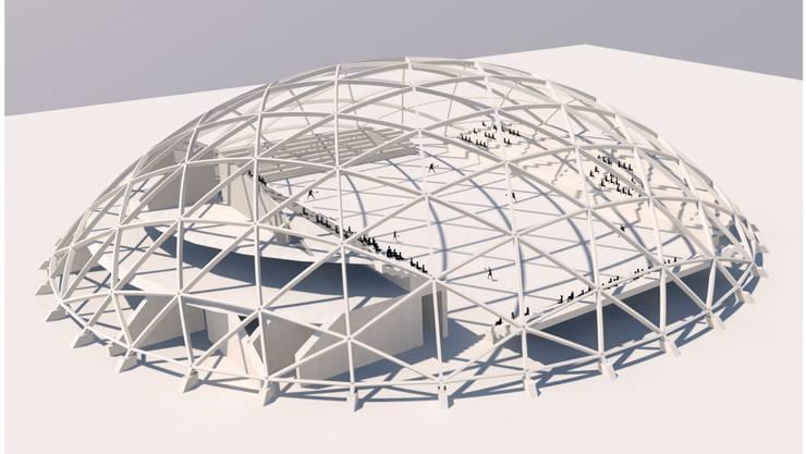 Bislang fehlt in der Region Basel eine Halle dieser Grösse: Der geplante Holzdom in Aesch würde bis zu 2400 Zuschauer fassen. So könnte etwa der Volleyball-Club Sm'Aesch-Pfeffingen darin internationale Spiele austragen – doch noch sind viele Fragen offen. (zvg / Visualisierung)
