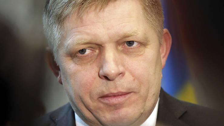 Wollte wohl einem verlorenen Misstrauensvotum im Parlament zuvorkommen: der rücktrittswillige slowakische Ministerpräsident Robert Fico (in einer Aufnahme vom 23. Februar 2018).