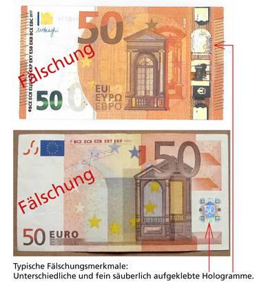 Fälschungsmerkmale von 50-Euro-Noten.
