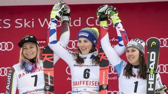 Nichts ist es für Wendy Holdener (3.) aus dem erstem Slalom-Sieg der Karriere geworden – obwohl Mikaela Shiffrin ausgefallen ist.