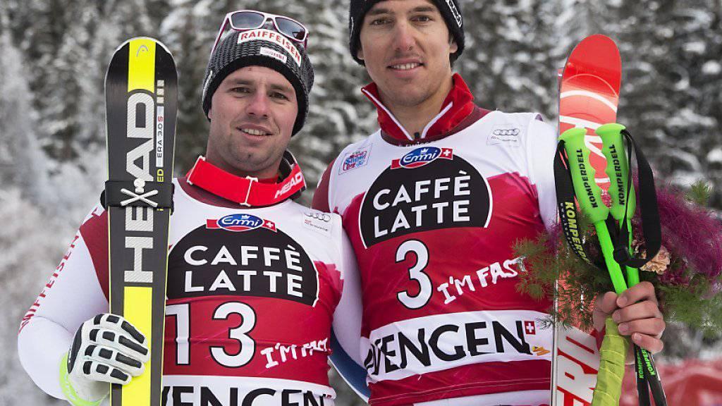 Beat Feuz und Carlo Janka mit schneller Fahrt im einzigen Training zur letzten Saisonabfahrt in St. Moritz (Archivbild)