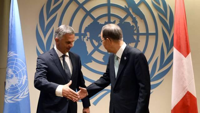 Mehr Geld von der Schweiz: Burkhalter und UNO-Generalsekretär Ban