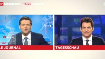 Urs Gredig moderierte das Westschweizer Le Journal, Olivier Dominik die Hauptausgabe der Tagesschau.