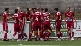 Jubel beim FC Baden. Im Spitzenkampf gegen den FC Langenthal gewinnen die Badener mit 3:1.