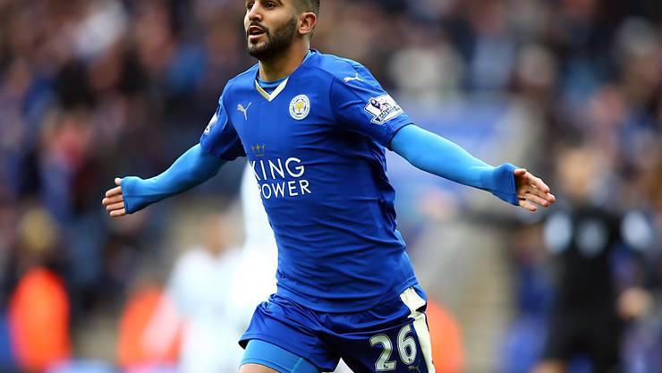 Für ihn zahlte Manchester City die Rekord-Ablösesumme von über 60 Millionen Pfund: Riyad Mahrez, hier im Dress seines bisherigen Klubs Leicester