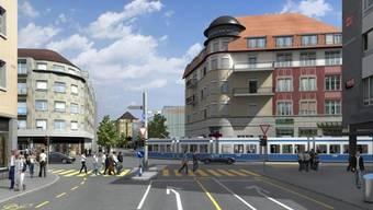 Soll gemäss VBZ am Lindenplatz rechts Richtung Bahnhof abbiegen: Der 2er mit neuer Linienführung.