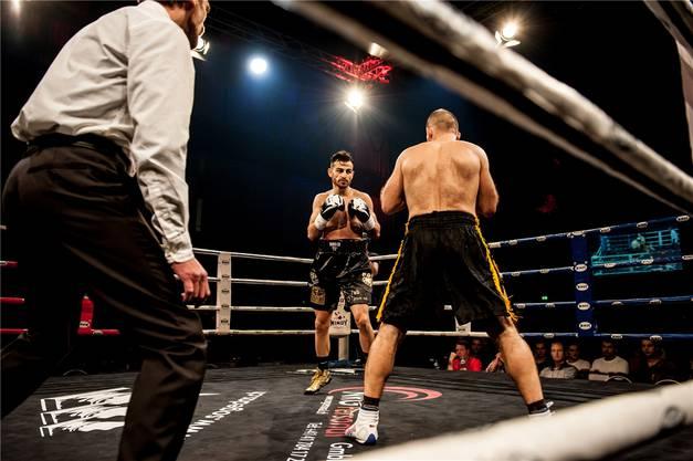 Der Ungar Istvan Szucs (rechts) hat gegen den Badener Profiboxer Andranik Hakobyan ein schweres Los gezogen – und muss sich am Ende geschlagen geben.