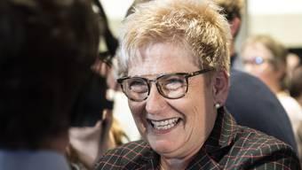 BDP-Ständeratskandidatin Beatrice Simon am Wahltag an den Eidgenoessischen Parlamentswahlen. (KEYSTONE/Peter Schneider)