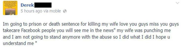 «Ich gehe ins Gefängnis oder bekomme die Todesstrafe, weil ich meine Frau umgebracht habe. Ich liebe und vermisse euch, Jungs. Tragt Sorge zu euch, Facebook-Leute. Ihr werdet mich in den Nachrichten sehen. Meine Frau hat mich geschlagen und ich will den Missbrauch nicht länger ertragen. So habe ich gemacht, was ich gemacht habe. Ich hoffe, ihr versteht mich.»