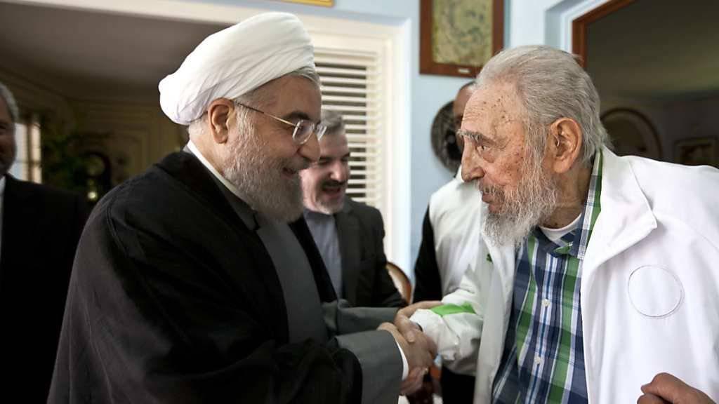 Fidel Castro begrüsst in seiner Privatresidenz den iranischen Präsidenten Hassan Rohani: Gesprochen wurde über internationale Beziehungen.