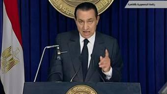 Ägyptens Präsident Hosni Mubarak während seiner Rede an die Nation