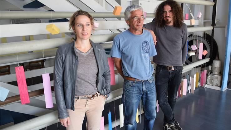 Auch ein Blick ins lebendige Bifang-Quartier muss sein: Regina Graber, Jürg Meyer und Daniel Kissling von Pro Kultur Olten.