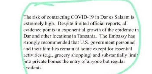Das Risiko, in den Strassen von Dar es Salaam mit Coronavirus infiziert zu werden, sei extrem hoch, schreibt die US-Botschaft in Tanzania.