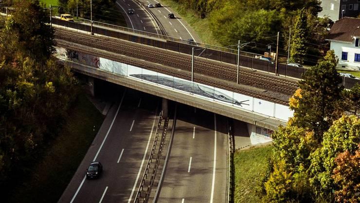 Die Riesenschnecke des Künstlers Pollo 7 an der A5 bei Aarau. Vandalen hatten sie bald verschandelt.