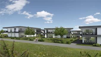 So wird sich das «Lieli Städtchen» nach Vorstellung des Architekten in knapp zwei Jahren präsentieren: Mietwohnungen mit Einfamilienhausgefühl.Visualisierung/ZVG