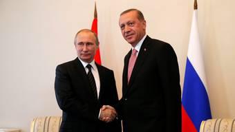 Präsident Putin und sein Amtskollege Erdogan bei ihrem Treffen in St. Petersburg.
