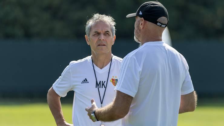 Marcel Koller, der neue Trainer des FC Basel 1893, links und sein Assistenztrainer Carlos Bernegger, rechts.