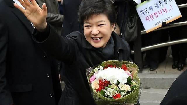 Park auf dem Weg zu ihrer Amtseinsetzung in Seoul