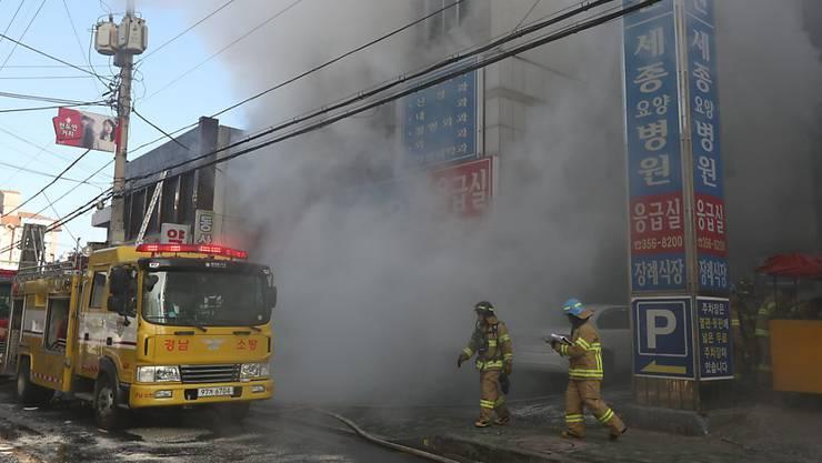 Das Feuer brach in der Notaufnahme in einem Spital in der südkoreanischen Stadt Miryang aus.