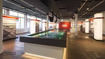 «Infopoint Eppenberg» nennt die SBB den neu eröffneten Ausstellungsraum beim Bahnhof Schönenwerd. Quelle: ZVG