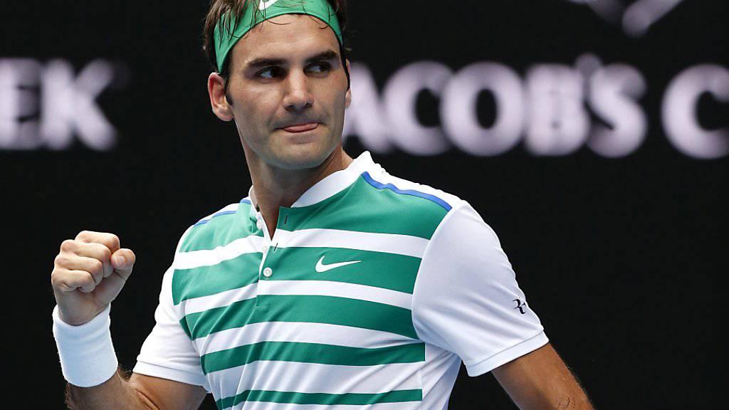Roger Federer auf dem Durchmarsch, auch dank 25 Assen und 17 Servicewinnern in 14 Aufschlagspielen.