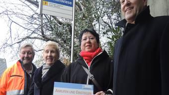 Fritz Rickli (RVBW), Andrea Martin-Fischer (RPB), Daniela Oehrli (Stadträtin Baden) und Roland Wunderli (Badener Taxi, von links).