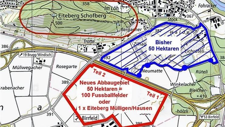 Die IG Mülligen-Birrfeld weist darauf hin, wie die Holcim den Kiesabbau in zwei Etappen erweitern will im Gebiet «Lindenacher-Ost» und «Lindenacher-West».