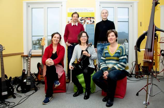 Von links: Dominique Gisler, Patrick Bisang, Regula Anderes, Werner Horisberger und Sandra Rupp Fischer engagieren sich für die Offene Musikschule.