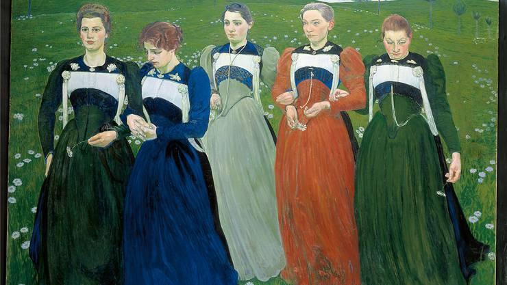 Cuno Amiet, ein Wegbereiter der Moderne, gewann 1900 die Silbermedaille an der Weltausstellung in Paris mit diesen fünf Trachtenfrauen. Sie symbolisieren «Richesse du soir».
