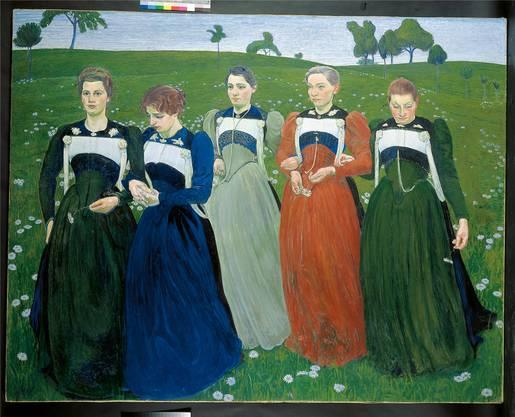 Cuno Amiet gewann 1900 die Silbermedaille an der Weltausstellung in Paris mit diesen fünf Trachtenfrauen. Sie symbolisieren «Richesse du soir».