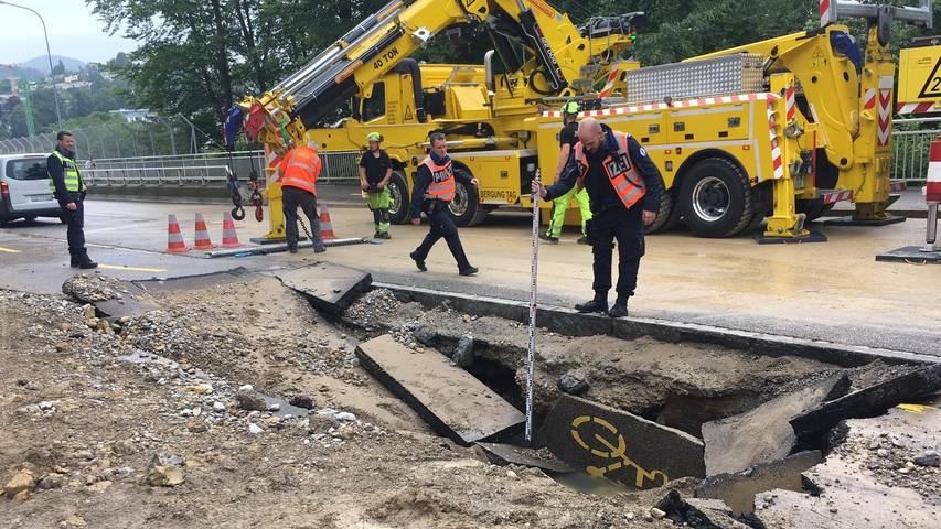 St.Galler Fürstenlandbrücke wieder befahrbar – klaffendes Loch nach Bus-Einbruch