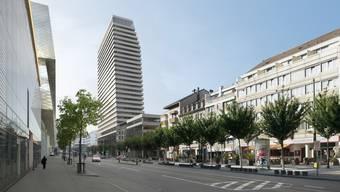 Andreas Bernauer, Betreiber der «Pianobar», wehrt sich gegen den Bau des Claraturms, der dereinst so aussehen soll.