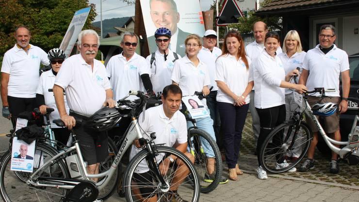 Mannschaft vor dem Start in Kaiserstuhl  mit (vordere Reihe, von l. nach r.) Franz Nebel, Thomas Wengi, Andrea Laube, Sonja Böhm, Claudia Hauser, Erwin Baumgartner