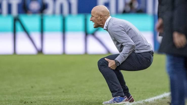St. Gallens Trainer Peter Zeidler hatte nach der Pause in Luzern zu leiden