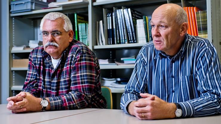 Peter Plüss (links), Gemeindeammann Bözberg, und Ueli Müller, Gemeindeammann Riniken, präsidieren die Regionalkonferenz Jura Ost gemeinsam.