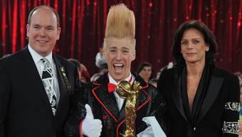 Stunt-Clown Bello Nock erhielt 2011 den Golden-Clown-Award von Prinz Albert II von Monaco und Prinzessin Stephanie während der Gala des Internationalen Zirkusfestivals in Monte Carlo.