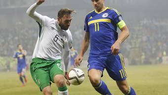 Edin Dezko (rechts) rettet Bosnien-Herzegowina mit seinem Treffer in der 85. Minute im EM-Barage-Hinspiel gegen Irland das 1:1-Remis