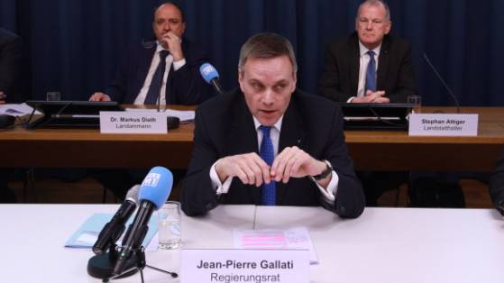 Die Medienkonferenz der gesamten Aargauer Regierung am 16. März 2020.