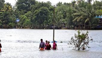 Über 400 Monsuntote im südindischen Bundesstaat Kerala: Passanten waten durchs hüfthohe Wasser in  Karinganthurth.