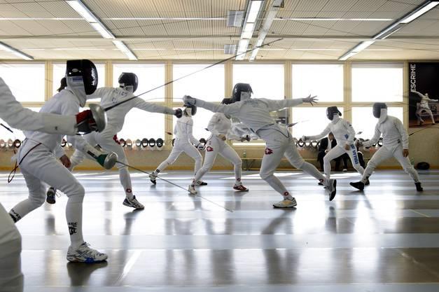 Die Schweizer Nationalmannschaft trainiert in Vevey.