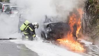 Bei der Ankunft der Feuerwehr stand das Auto bereits in Flammen.