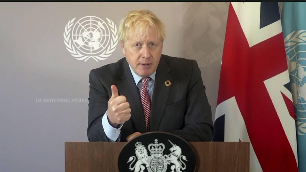 HANDOUT - «Wir wissen, dass wir so nicht weitermachen können.»: Premier Boris Johnson bei seiner aufgezeichneten Rede. Foto: -/UNTV/AP/dpa - ACHTUNG: Nur zur redaktionellen Verwendung und nur mit vollständiger Nennung des vorstehenden Credits
