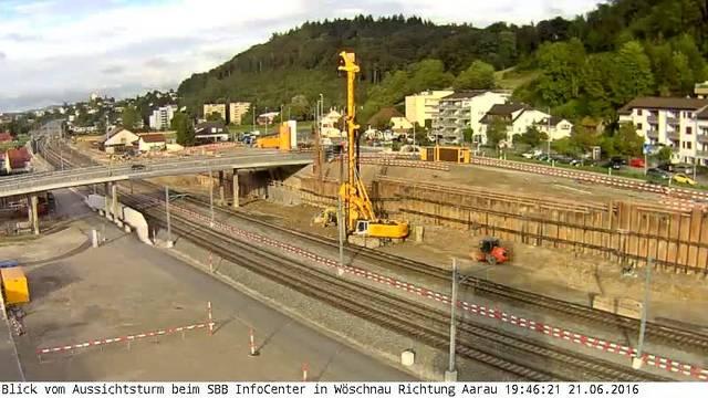 Eppenberg-Webcam 1 im Zeitraffer: Blick vom Aussichtsturm beim SBB-Infocenter in Wöschnau in Richtung Aarau